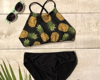 804e83a14963b Girls Swimwear reversible Two Piece Set ~ Swimsuit ~ PINEAPPLES ~ Bathing  Suit ~Halter top Bottom Kids Swimwear~Size 4 to 16