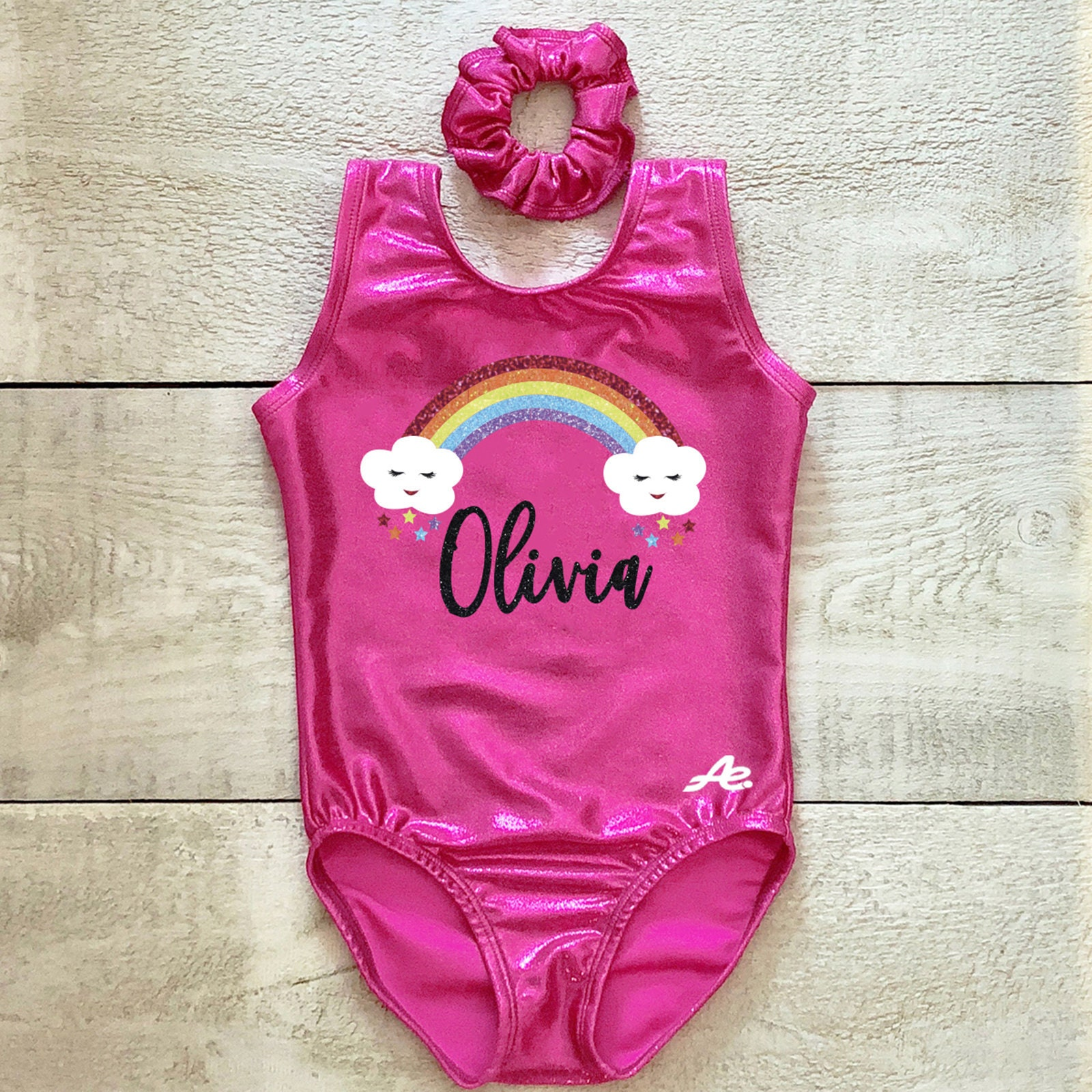Personalized Gymnastic Gymnast Girls Hot Pink Tumbling Leotard Size Medium 2-4T