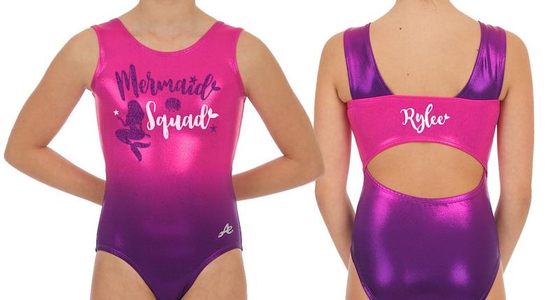 7c14d191dfce Personalized MERMAID SQUAD Gymnastics leotard with glitter