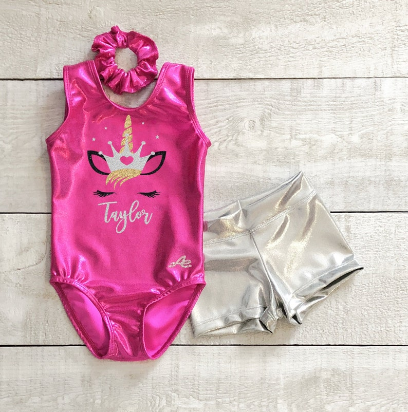 91e3972a Unicorn gymnastics leotard and short with name applique in | Etsy