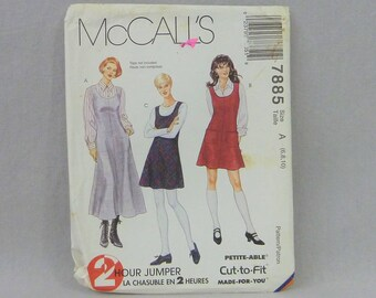 1995 Pattern - Misses' 2 Hour Jumper Dress in Two Lengths - UNCUT McCall's 7885 - Size A 6 8 10 - Vintage 1990s Sewing Pattern