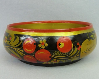 Vintage Small Hand Painted Wooden Bowl - Black Red Gold Flowers Fruit Leaves - Khokhloma Russian Soviet USSR