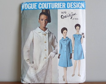 60s Pattern - Galitzine of Italy - Dress and Coat - UNCUT Vogue Couturier Design 1670 - Vintage 1960s Sewing Pattern - Size 10 - 31-24-33