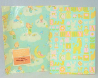 70s 80s Baby Shower Wrapping Paper Scraps - Two Sheets - Blocks Animals Toys - Hallmark Babies in Clouds - Vintage 1970s 1980s