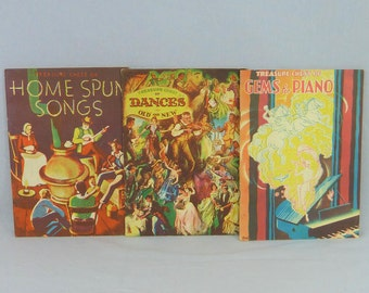 30s Treasure Chest Song Books - Lot of 3 Music Books - Sheet Music Songs Piano - Homespun Songs - Dances Old New - Vintage 1930s