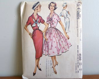 1958 Pattern - Misses' Dress w/ Full or Slim Skirt - Uncut McCall's Printed 4550 - Size 12 - Vintage 1950s Sewing Pattern - 32-25-34