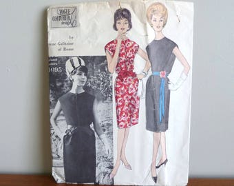 60s Pattern - Galitzine of Italy - One Piece Dress - Vogue Couturier Design Printed 1095 - Vintage 1960s Sewing Pattern - Size 16 - 36-28-38