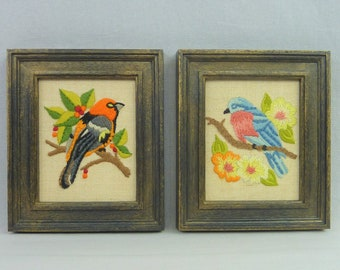 70s Wall Art - Embroidered Birds on Branches - Flowers Berries - Framed Set of 2 - Crewel Embroidery - Vintage 1970s