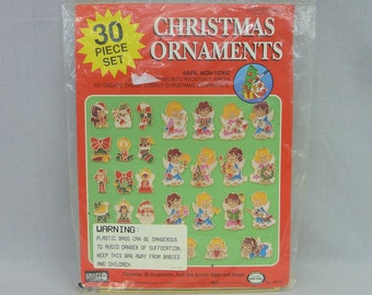 1995 Plastic Christmas Ornaments Kit - 30 Ornaments to Finish - Angels Santa Wreath Snowman - Needs New Acrylic Stain - Vintage 1990s