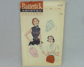 """50s Pattern - Misses' Blouses Sleeveless Short Sleeve Choice Necklines - UNCUT Butterick 6784 Vintage 1950s Sewing Pattern - Size 16 34"""" b"""