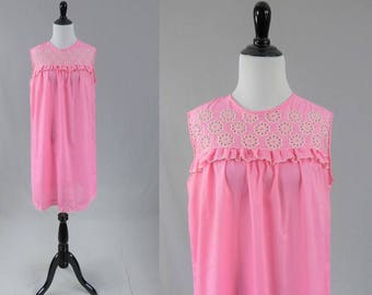 565c245dc0 60s Pink Nightie - White Eyelet Trim - Cotton Blend Summer Pajamas - Vintage  1960s - S