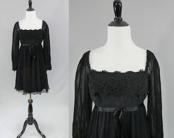 60s Little Black Dress - Sheer Pleated Overlay & Sleeves - Satin Bow - Lace Trim - LBD Party Dress - Vintage 1960s - S