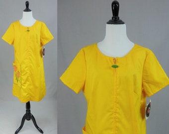 db63900404 60s Cotton House Dress - Deadstock w  Tag - Big Patch Pocket Applique  Flowers - Zip Front Robe - Ellen Dru - Vintage 1960s - L XL