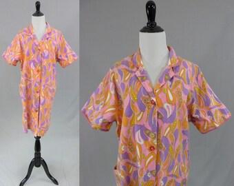 60s Robe House Dress - Soft Psychedelic Print Cotton - Pink Purple Orange Yellow  White - Button Front - Vintage 1960s - L XL 3cb121e60