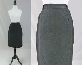 "50s Gray Wool Skirt - Stitch Detail - Classic Office Skirt - Vintage 1950s - 24"" waist"