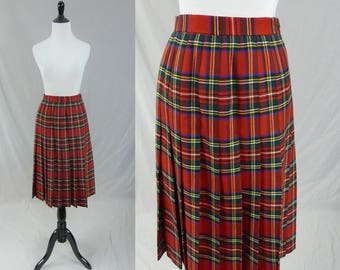 1e9ddc37c 80s Plaid Wool Skirt - Red Green Blue Yellow Tartan - Pleated - Strathmore  Scotland - Vintage 1980s - Size S - 25