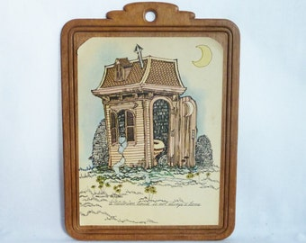"""70s Victorian Outhouse Plaque - """"A Victorian House is not Always a Home"""" - Vintage 1970s Kitsch Bathroom Decor"""