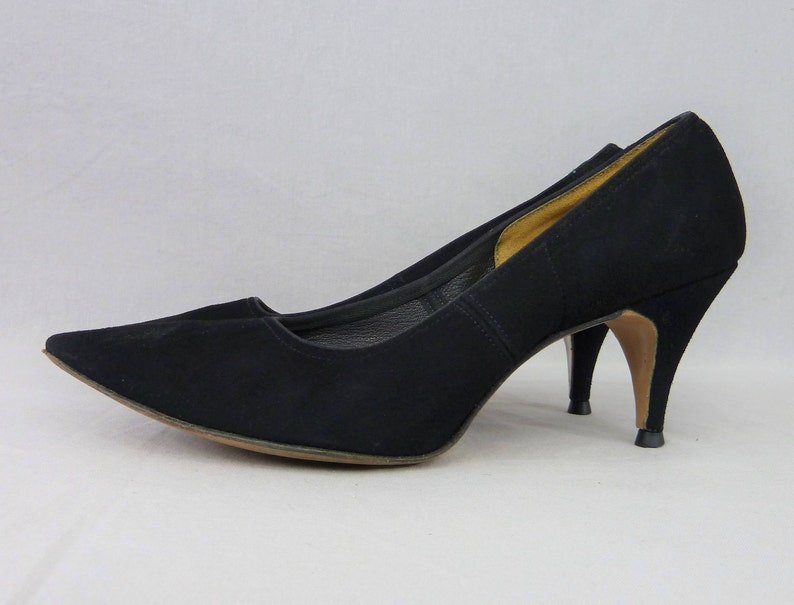 79e2e3264a7 50s Black High Heels Suede Leather Shoes Pumps Pointy Toes