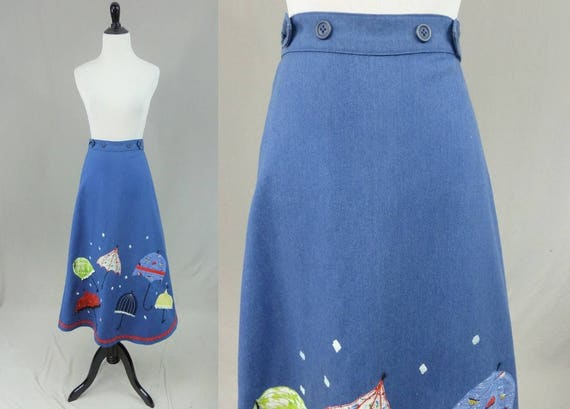 70s Rainy Day Maxi Skirt -Appliqued Umbrellas - Ri