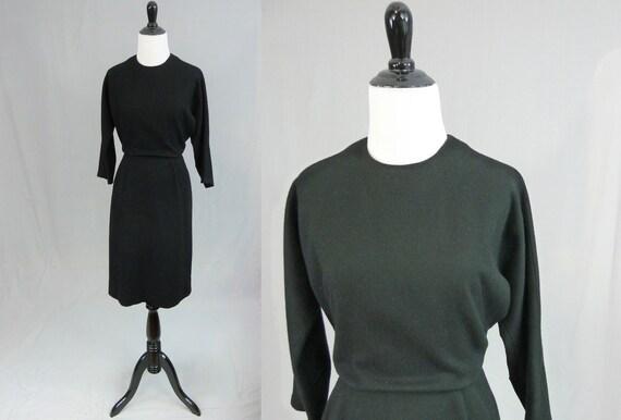 60s Black Wool Dress - Classy Somber Funeral Dress