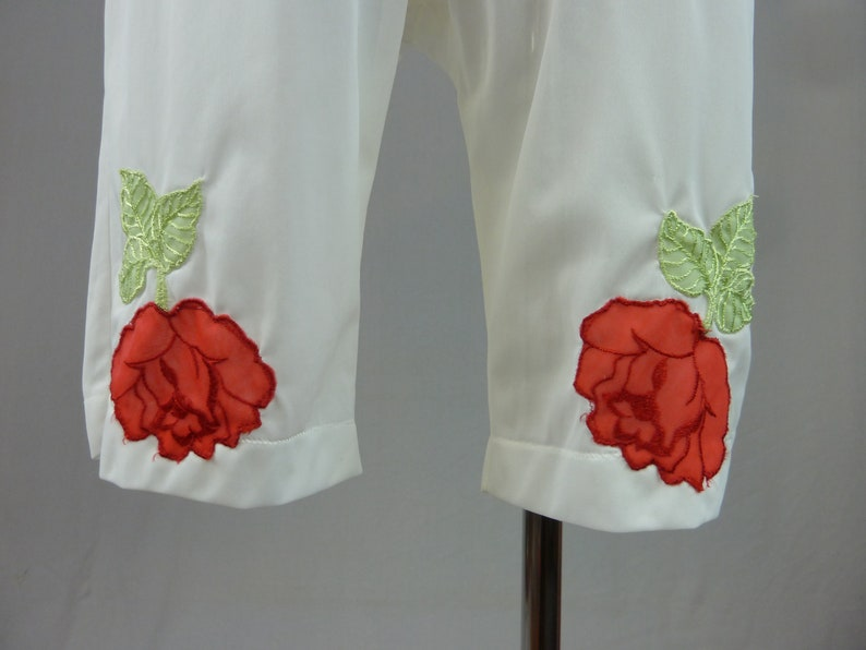 Size S M Nylon Shorts Slip 60s White Pettipants Vintage 1960s Red Roses Green Leaf Appliques