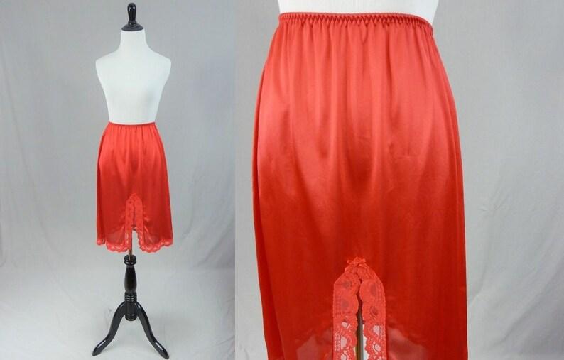 41410b995d 80s Red Skirt Slip Nylon Lace Trim w/ Slit Back Front or | Etsy