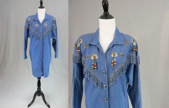 Vintage Denim Dress Blue Jean Dress Long Sleeve Blue White Stripe Women Medium Wash Denim Medium Made USA 80s 90s Vintage Dress 1980s 1990s