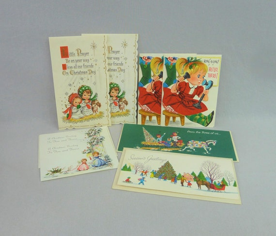 Glitter Christmas Cards.50s And 60s Glitter Christmas Cards Lot Of 8 Some W Envelopes Girl On Phone Angels Praying Family On Sleigh Vintage 1950s 1960s