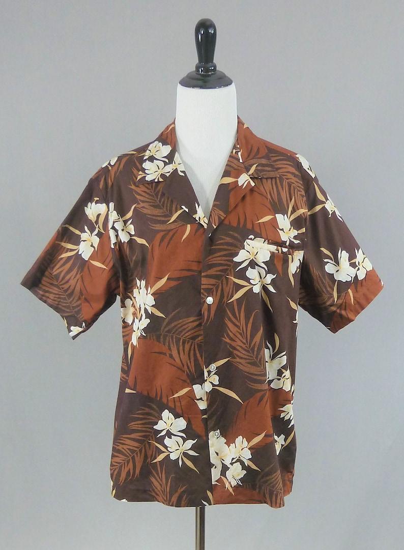 b828f71b53102 70s Hawaiian Shirt Brown White Yellow Floral Print Vintage