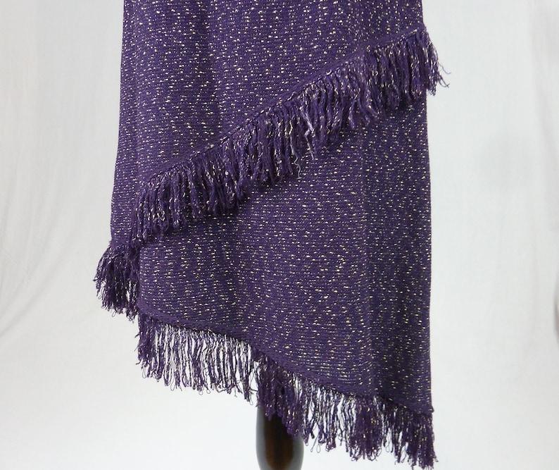 Size 8 Dark Purple w Beige Flecks John Collection Asymmetrical Santana Knit Fringe Hem Skirt Vintage St