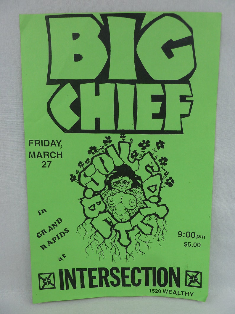 band gig concert flyer Vintage 1980s Punk Flyer Soiled Betty Intersection Grand Rapids 1987 Big Chief original flyer