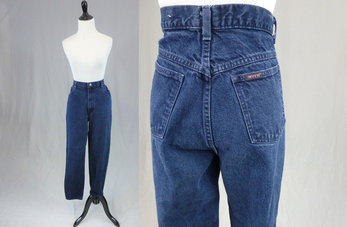 80s Dresses | Casual to Party Dresses 80S 90S High Waisted Mom Jeans - 31 Waist Dark Blue Denim Pants Sasson Vintage 1980S 1990S 31x29 29 Inseam $0.00 AT vintagedancer.com