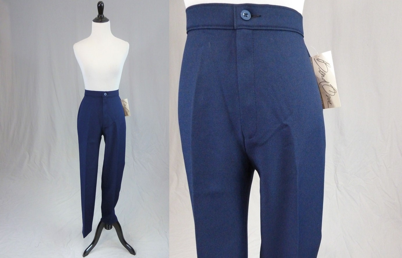 80s Dresses | Casual to Party Dresses 80S Levis Navy Blue Pants - Levi Strauss Bend Over High Waisted Deadstock Unworn with Tags Vintage 1980S 26 Waist $0.00 AT vintagedancer.com