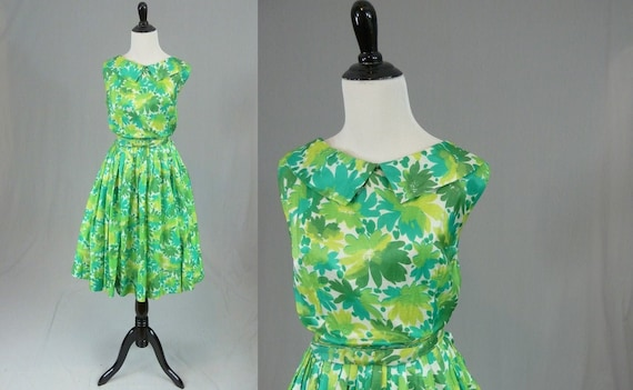 50s 60s Green Floral Dress - Full Skirt - Vintage