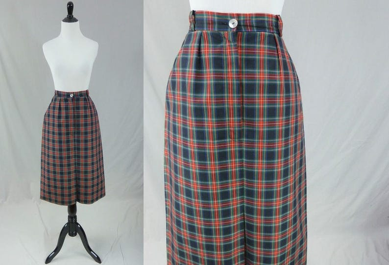 4b3be1e5a 50s Plaid Skirt Red Green Blue Black Yellow Cotton   Etsy