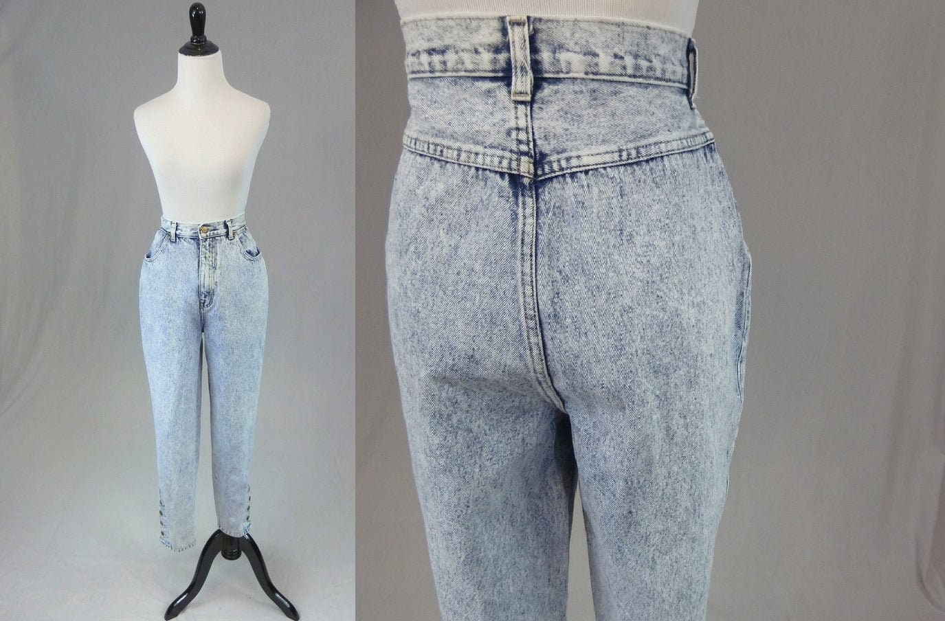 80s Dresses   Casual to Party Dresses 80S Stefano Ankle Snap Jeans - High Waisted Acid Wash Vintage 1980S 28 Waist Inseam $0.00 AT vintagedancer.com