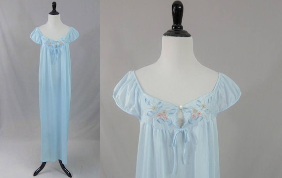 70s Long Nightgown Light Blue Nylon Embroidered Flowers  38fde3cce