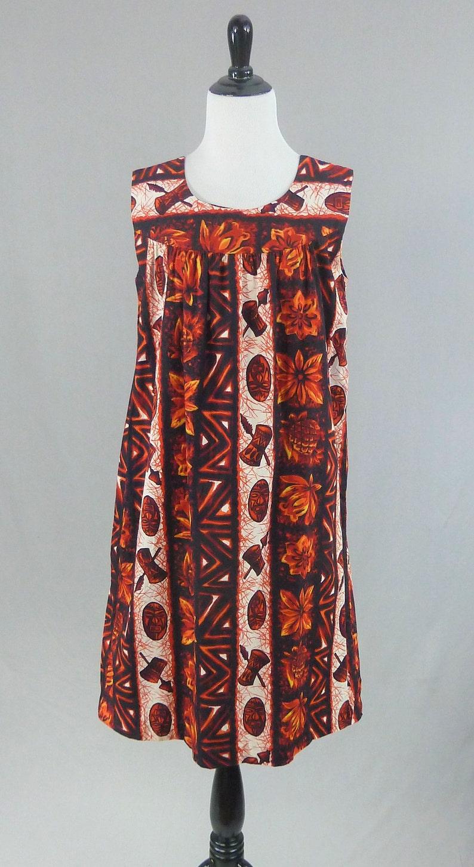b61e94c24 60s Hawaiian Tiki Mask Dress Red Black Orange White Print on | Etsy