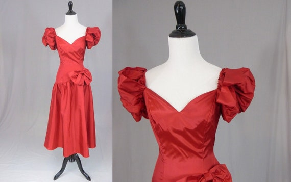 80s Red Bridesmaid or Prom Dress - Deadstock - Ful