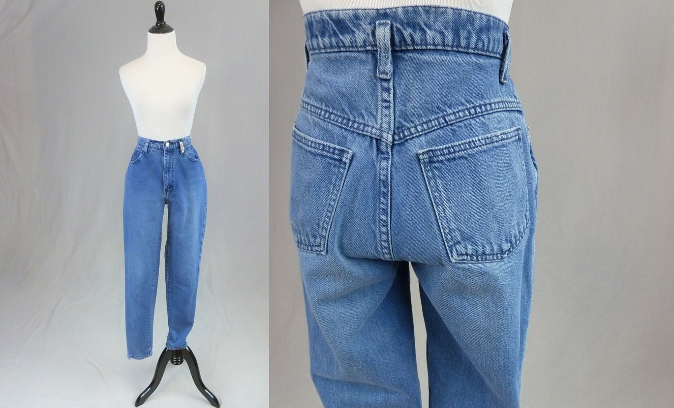 80s Dresses | Casual to Party Dresses 80S 90S Sasson Mom Jeans - 27 Waist Blue Denim Pants Relaxed Tapered High Waisted Vintage 1980S 1990S 30 Inseam $0.00 AT vintagedancer.com