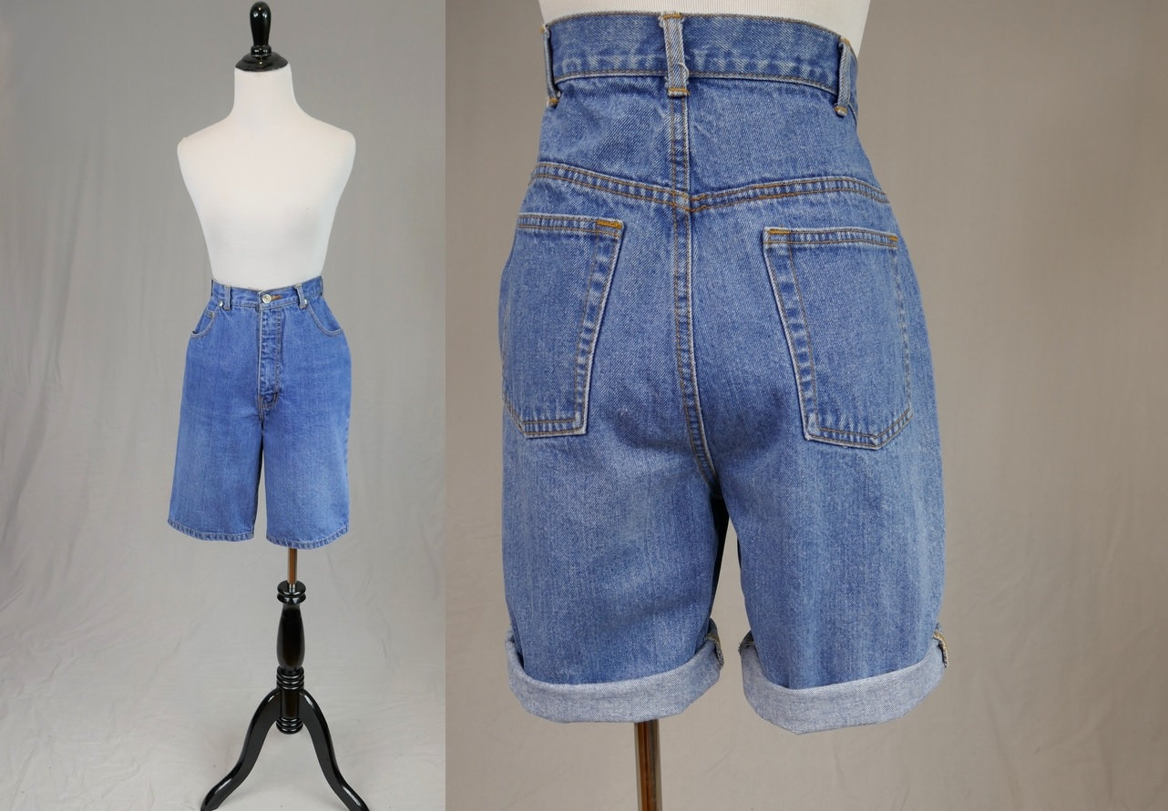 80s Dresses | Casual to Party Dresses 80S 90S Valentino Jean Mom Shorts - High Waisted Cotton Denim Vintage 1980S 1990S 27 Waist $50.00 AT vintagedancer.com