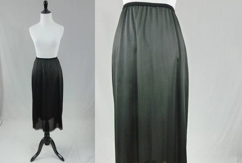 3bd38b28a7 60s Maxi Skirt Slip Black Half Skirt Slip Nylon | Etsy