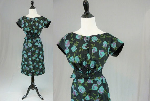 50s Fitted Floral Dress - Black Blue Purple Green