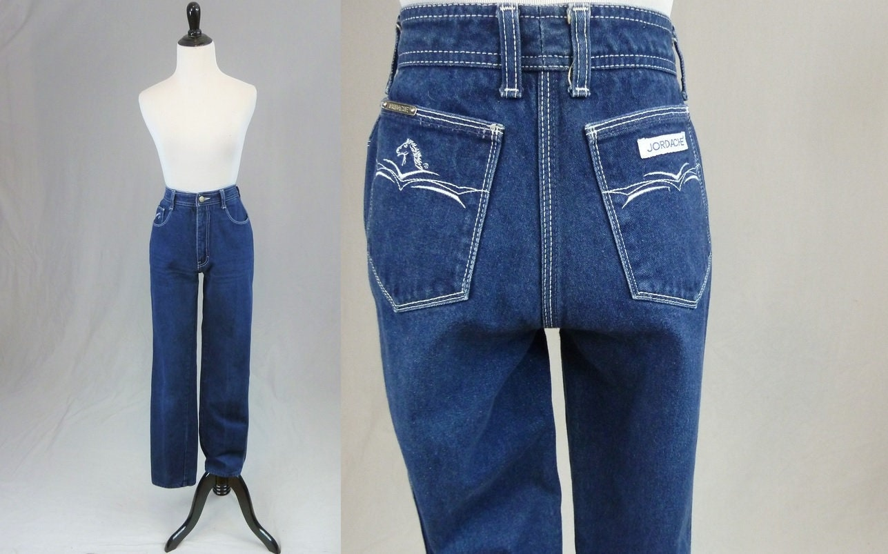 80s Dresses | Casual to Party Dresses 80S Jordache Jeans - 26 Waist Embroidered Horse Dark Wash Denim Pants Vintage 1980S 31.5 Inseam $0.00 AT vintagedancer.com