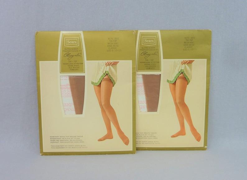 c356fe5e3 60s Seamless Thigh High Stockings 2 Pair Sears Cling-alon