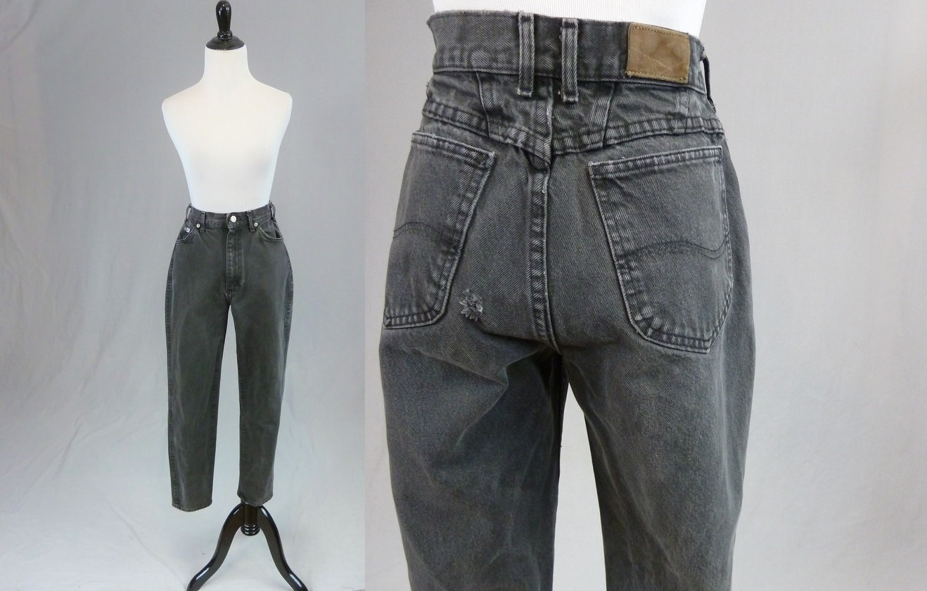 80s Dresses | Casual to Party Dresses 90S Black Lee Mom Jeans - 25 Waist High Waisted Tapered Leg Vintage 1990S 28.5 Inseam $0.00 AT vintagedancer.com