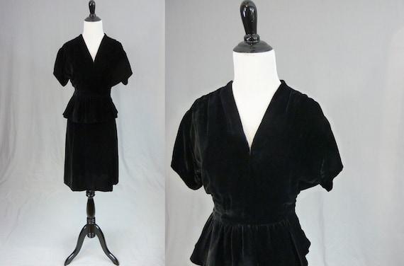 30s 40s Black Velvet Dress - Peplum Front Waist -