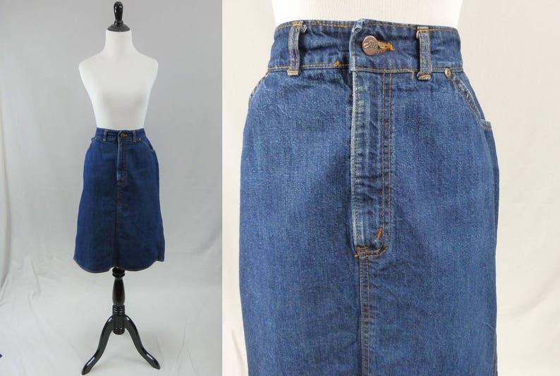 166e4b8759 80s Jean Skirt Dark Blue Denim High Waist Orange   Etsy