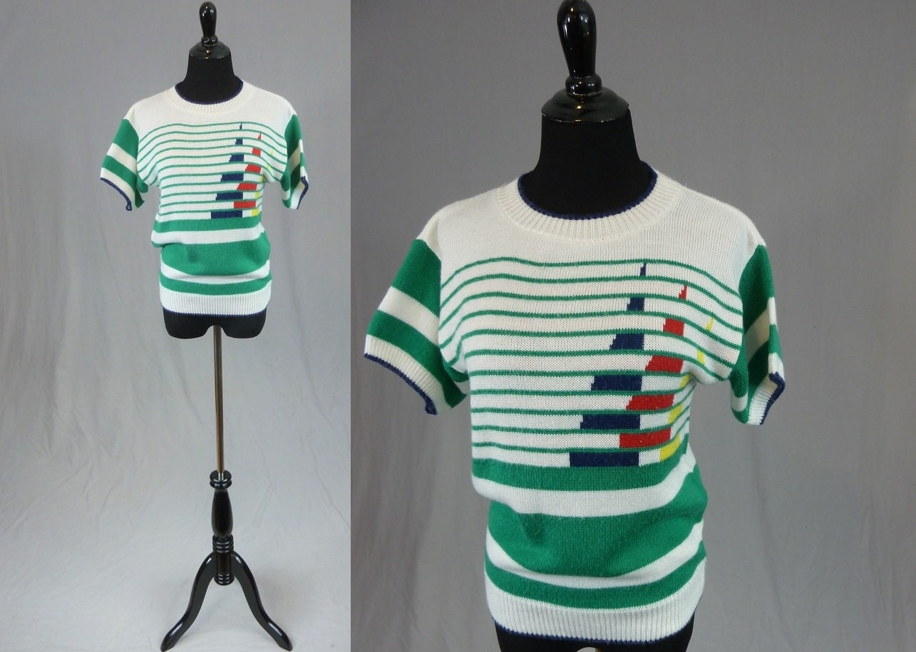 80s Dresses | Casual to Party Dresses 80S Nautical Sailboat Sweater - Short-Sleeved Pullover Knit White Blue Red Yellow Green Stripes Vintage 1980S S M $28.00 AT vintagedancer.com