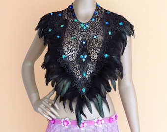 Steampunk cape Rave outfit gothic feather cape burning man outfit shoulder feather epaulette edc festival outfit  burning fashion
